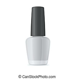Blank Nail Polish Bottle. Mockup Template on White Background. Vector.