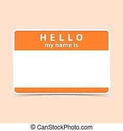 Blank name tag sticker HELLO