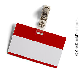 Blank Name Tag - Red and White Plastic Name Badge with Metal...