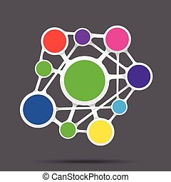 Blank network template, connection business concept, vector illustration