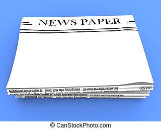 Blank Newspaper With Copy Space Shows News Media Headline -...