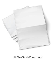 Blank newspapers pile on white background. - Blank...