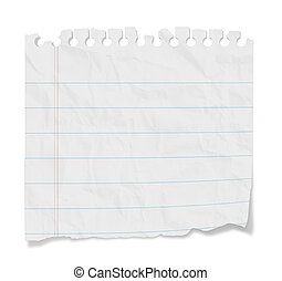 Torn blank lined paper from a notepad with shadows. Isolated on a white background with clipping path.