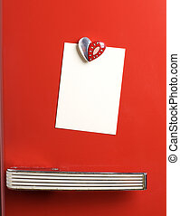 Blank note on red fifties fridge-door, heart shaped-magnet,...
