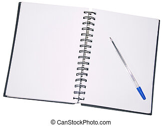 Note Pad - Blank Note Pad and Ballpen isolated on white...