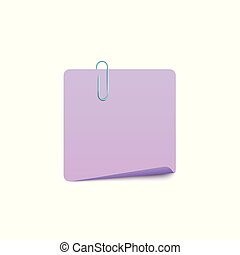Blank note page with paper clip, realistic vector mockup illustration isolated.
