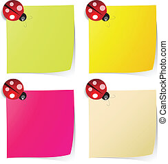 blank note paper in four colors with ladybug