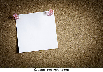 Blank note paper on board