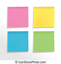 blank note paper set on white background