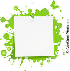 Blank Note Paper With Green Blot