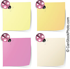 blank note paper with ladybug magnet