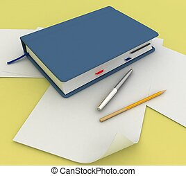 Blank note paper with pen and pensil
