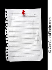 Blank note / to-do list / post-it held by a thumbtack