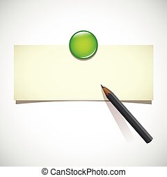 blank note with green magnet and pencil