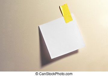 Blank note with tape - Blank white square note stuck up with...