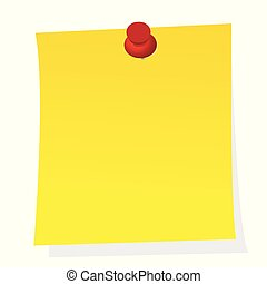 Blank note yellow paper sticker with push pin