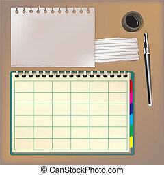 Blank notebook and pen vector illus