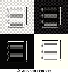 Blank notebook and pencil with eraser icon isolated on black, white and transparent background. Vector Illustration