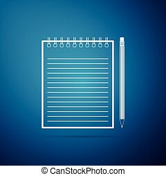 Blank notebook and pencil with eraser icon isolated on blue background. Flat design. Vector Illustration