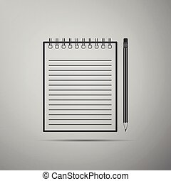 Blank notebook and pencil with eraser icon isolated on grey background. Flat design. Vector Illustration