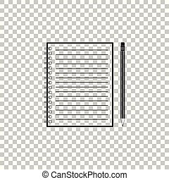Blank notebook and pencil with eraser icon isolated on transparent background. Flat design. Vector Illustration