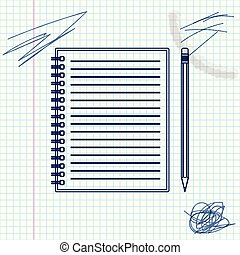 Blank notebook and pencil with eraser line sketch icon isolated on white background. Vector Illustration