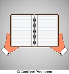 Blank notebook, diary in hand. Vector illustration