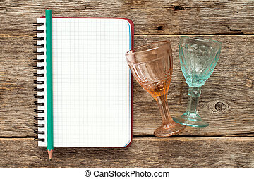 Blank notebook for menu or cocktail recipes