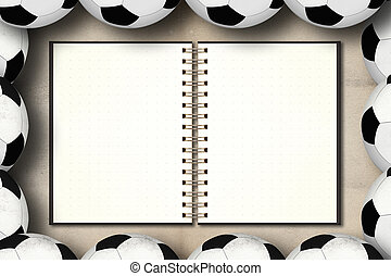 Blank notebook in framing of football on grunge vintage...
