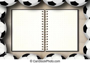 Blank notebook in framing of football on grunge vintage...