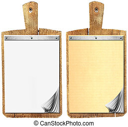 Blank Notebook on Old Wood Cutting Board - Two Notebooks for...