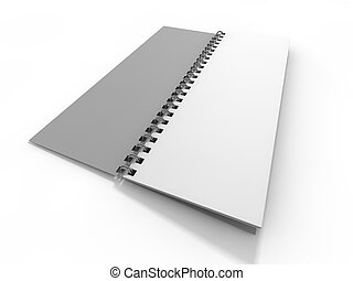 Blank notebook on white background. 3D