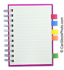 blank notebook Pink cover isolate with clipping path