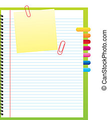 blank notebook with clips and papers. vector illustration