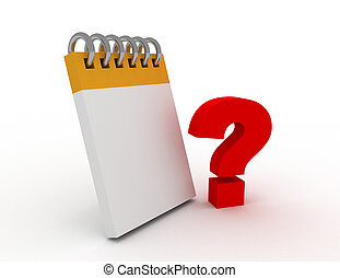 blank notebook with question mark