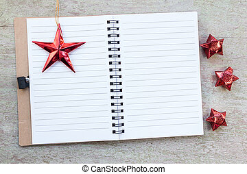 Blank Notebook With Stars On Wooden Background, Christmas