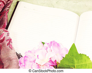 blank notebook with vintage filter effect retro style