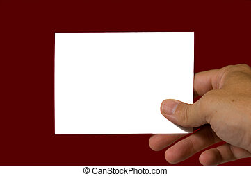 Blank notecard on red background with copy space
