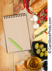 Blank notepad for copy space and food