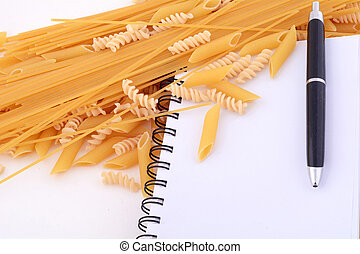 blank notepad with pasta