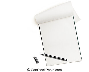 Blank notepad with pen isolated on white, free space for...