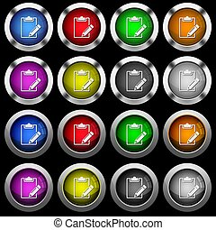 Blank notepad with pencil white icons in round glossy buttons on black background