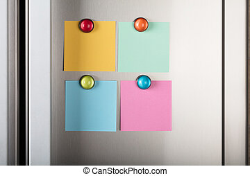 Blank Notes Attached With Colorful Magnetic Thumbtacks