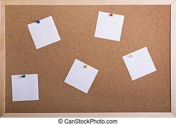 Blank notes on cork board