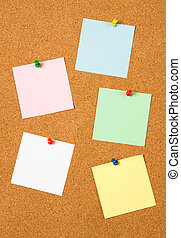 Blank notes on cork board - Blank notes pinned on cork...