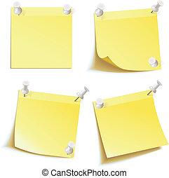 Blank notes pinned on corkboard - Yellow stick note. Blank...