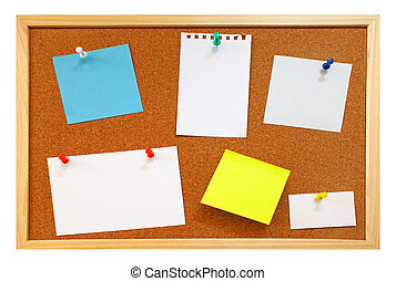 Blank notes with colorful push pins on framed cork board isolated