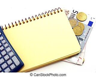 blank, notesbog, og, regnemaskine