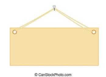 blank notice board hanging on nail vector illustration