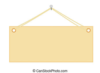 blank notice board hanging on nail vector illustration